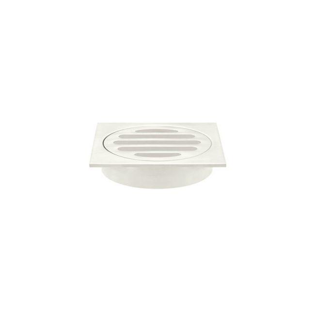 Meir Square Floor Grate Shower Drain   80mm Outlet   Brushed Nickel