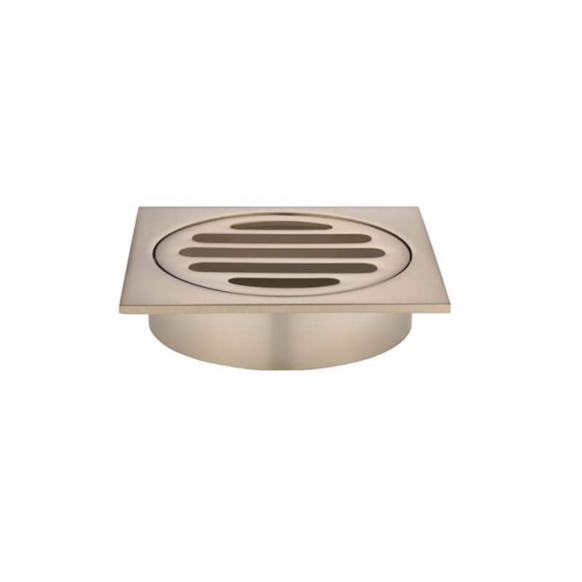 Meir Square Floor Grate Shower Drain 80mm outlet - Champagne