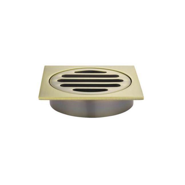 Meir Square Floor Grate Shower Drain 80mm outlet - Tiger Bronze Gold