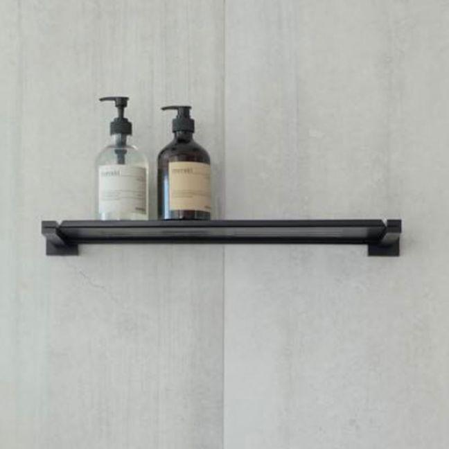 Meir Square Matte Black Bathroom Shelf