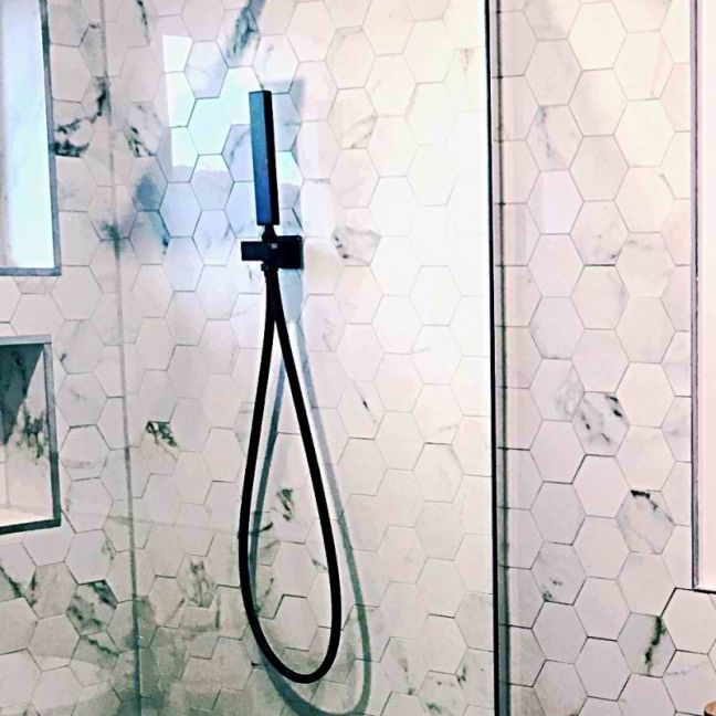 Meir Square Matte Black Portable Shower Set