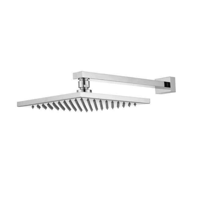 Meir Square Wall Shower, 200mm rose, 300mm arm - Polished Chrome