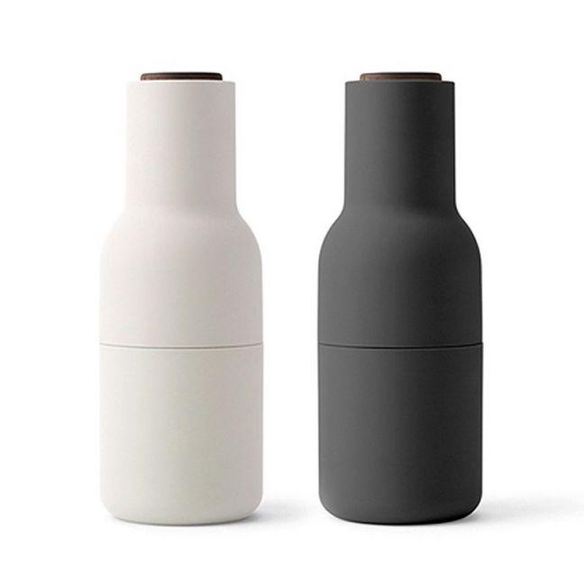 Menu Bottle Grinder | Set of Two | Carbon and Ash with Walnut Lid
