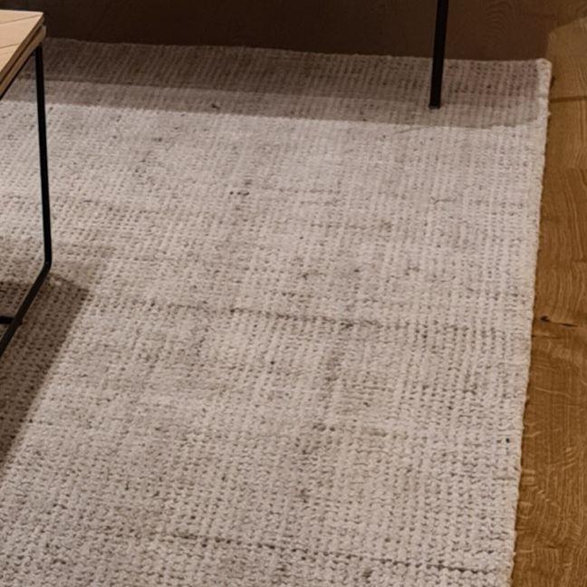 Miami Mini Weave Wool Rug   Light Grey