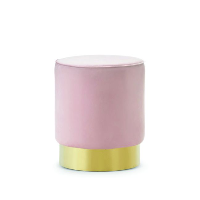 Mila Round Velvet Ottoman | Blush Pink & Gold Base
