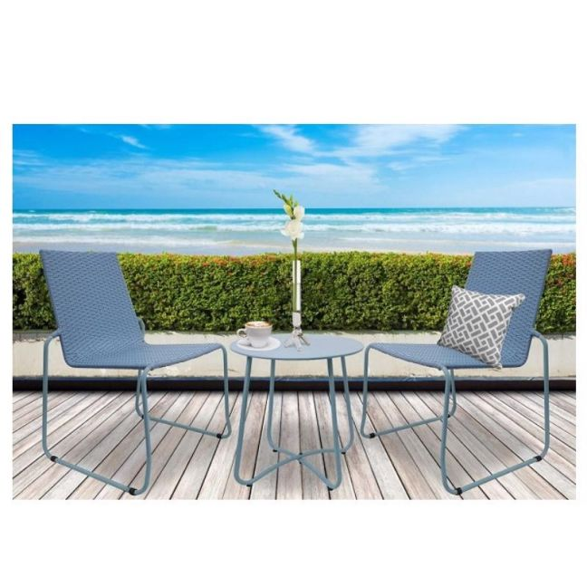 Milano Outdoor 3 Piece Blue Coffee Set | Steel/Rattan