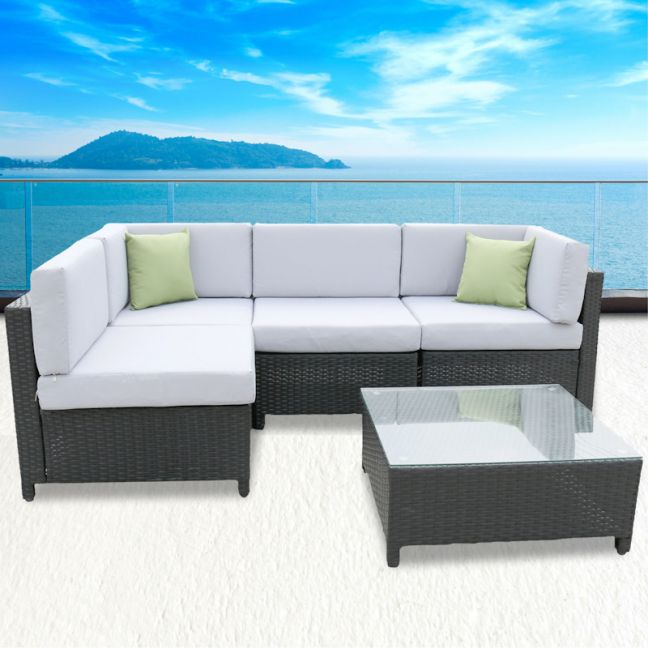 Milano Outdoor 5 Piece Black And Grey Rattan Sofa Set