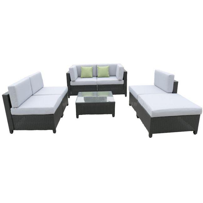 Milano Outdoor 7 Piece Rattan Black and Grey Sofa Set