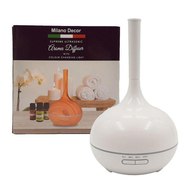 Milano Supreme Ultrasonic Aroma Diffuser w/3 Pack Oils - White
