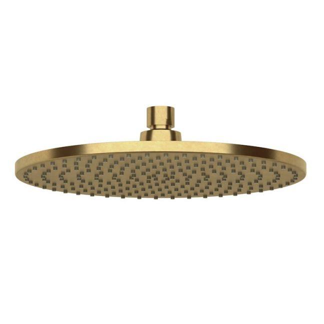 Milli Pure Shower Head 250mm Living Tumbled Brass (3 Star) | Reece