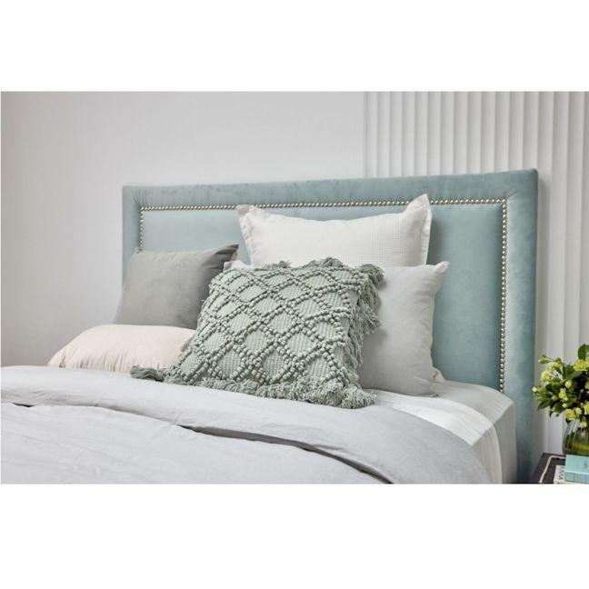 Mint Blue Velvet Studded Upholstered Bedhead   All Sizes   By Martini Furniture