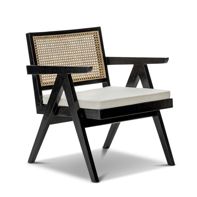 Mira Rattan Occasional Armchair | Black