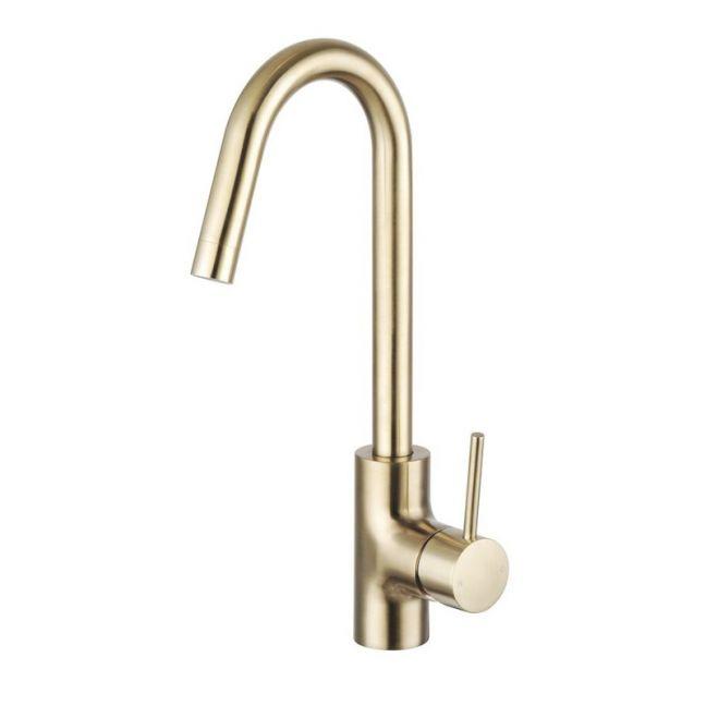 Mizu Drift MK2 Gooseneck Sink Mixer Tap Brushed Gold