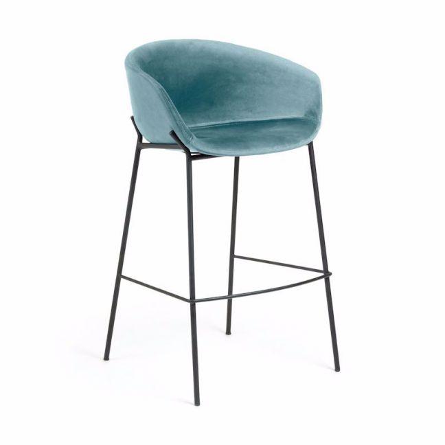 Modine Bench Barstool | Ocean Blue Velvet | CLU Living