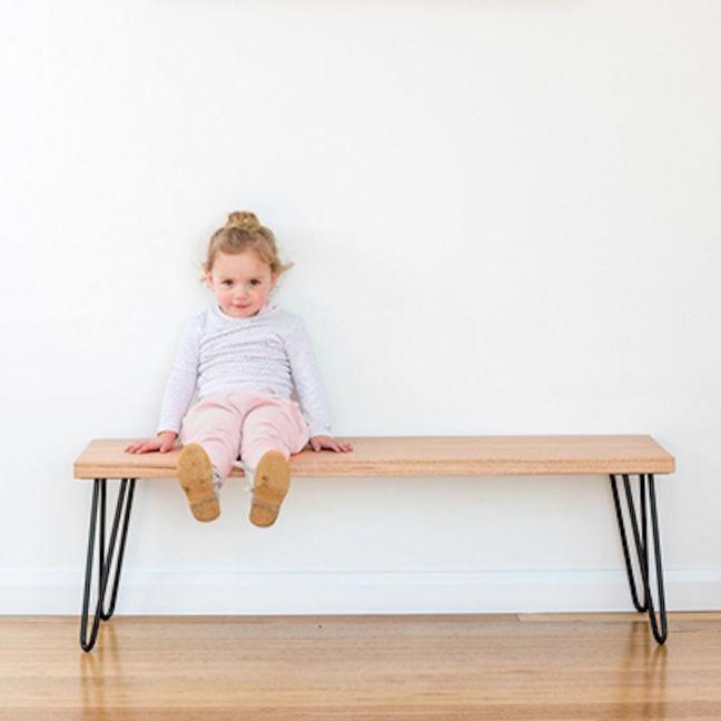 Molly Hall Bench / Seat | Tasmanian Oak | with 2 BLACK rod hairpin legs