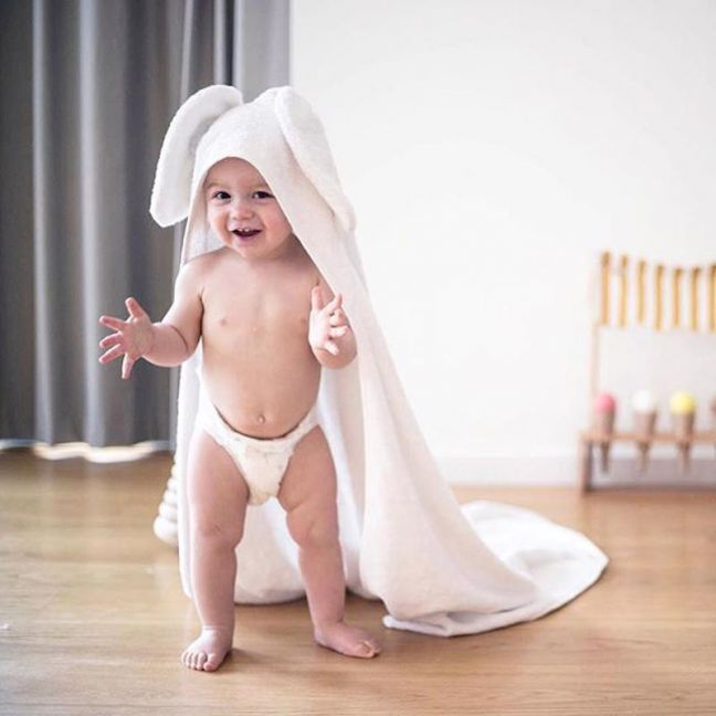 Molly & Moo Nellie Elephant Hooded Towel   Baby Size 75cm x 75cm
