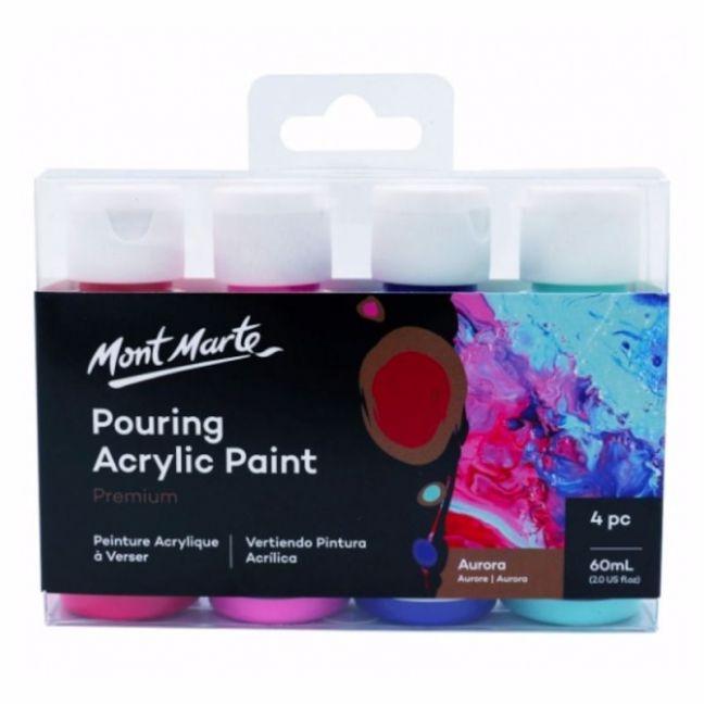 Mont Marte Acrylic Pouring   Fluid 4pc Paint Set   Aurora