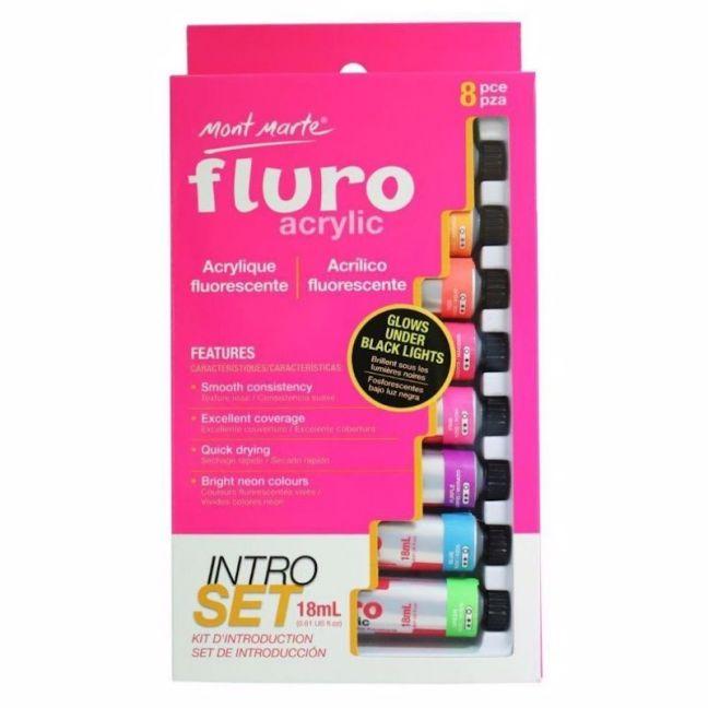 Mont Marte Intro Paint Set   Fluro Acrylic Paint   8pc x 18ml