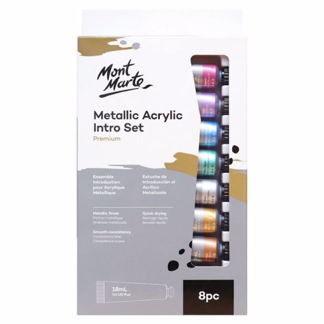 Mont Marte Intro Paint Set | Metallic Acrylic Paint | 8pc x 18ml