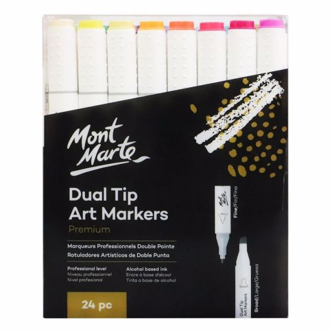 Mont Marte Premium Marker Set   Dual Tip Alcohol Ink Art Markers   24pc