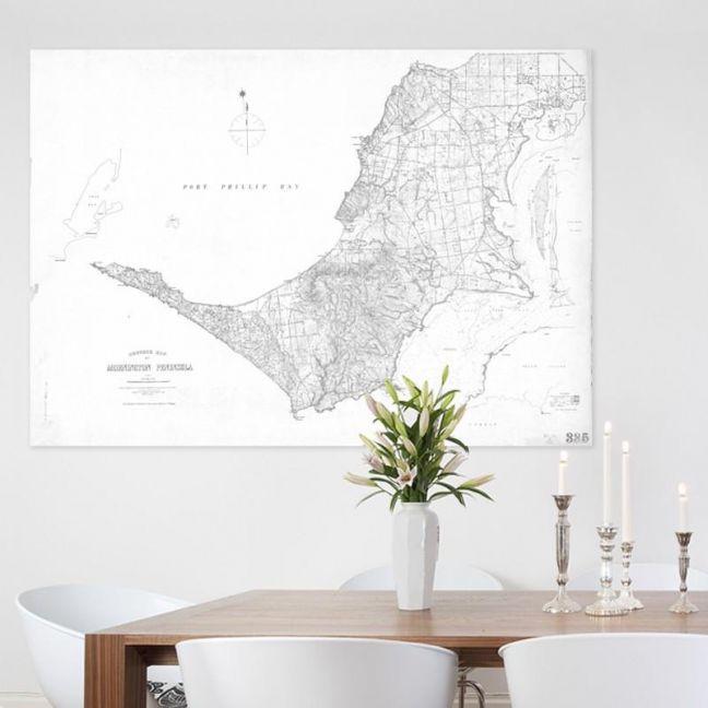 Mornington Peninsula Vintage Map | Stretched Canvas/Printed Panel