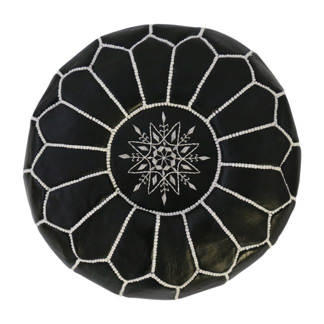 Moroccan Leather Ottoman Pouffe Cover | Black | by Black Mango