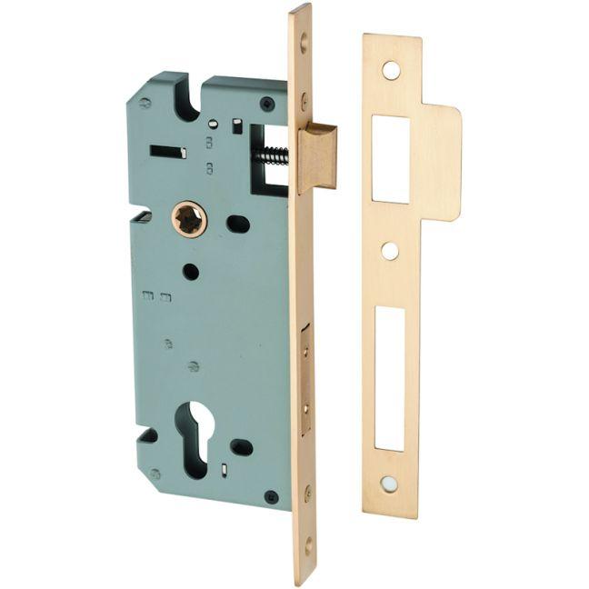 Mortice Lock Euro C85mm Backset 45mm | Satin Brass | Schots
