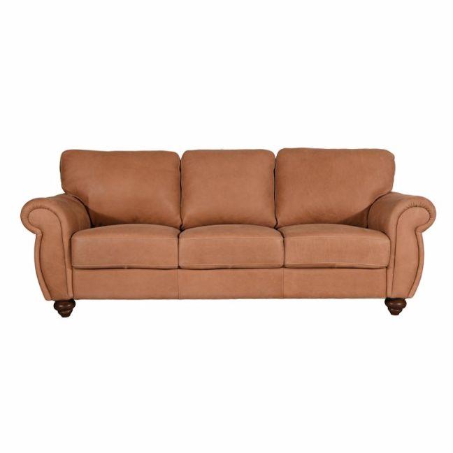 Mountbatten Leather 3 Seater Sofa   Tan