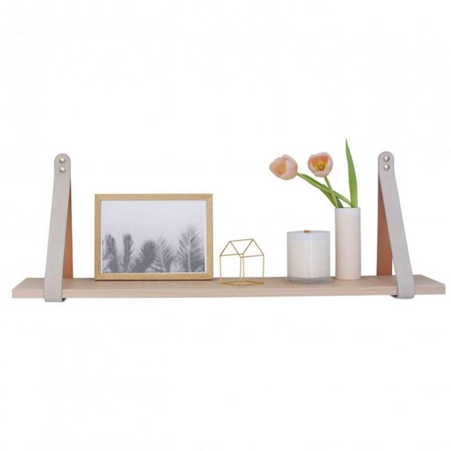 Mushroom Suede Leather Strap Shelf | Nordic