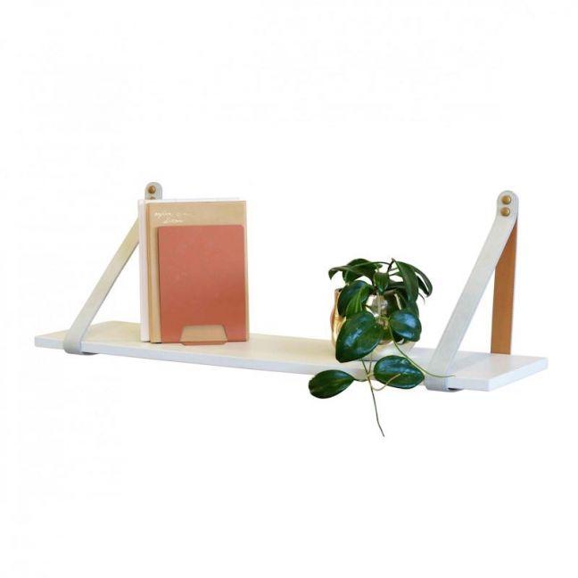 Mushroom Suede Leather Strap Shelf   White
