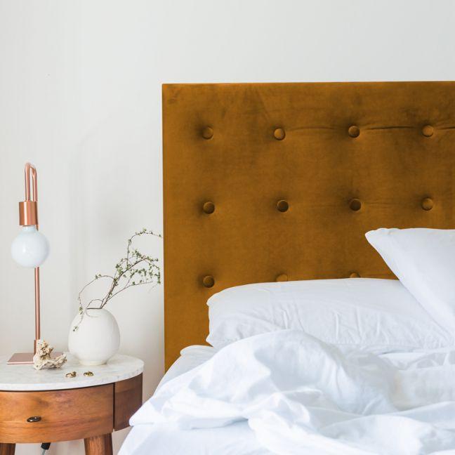 Mustard Velvet Buttoned Upholstered Bedhead   All Sizes   Custom Made by Martini Furniture
