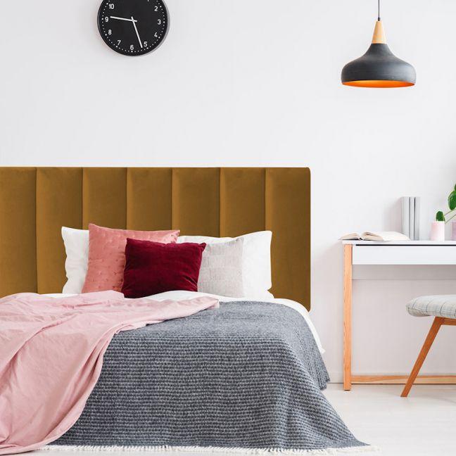 Mustard Velvet Panelled Upholstered Bedhead   All Sizes   Custom Made by Martini Furniture