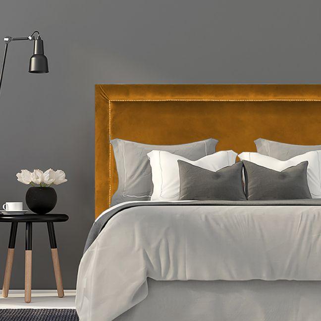 Mustard Velvet Studded Bedhead   All Sizes   Custom Made by Martini Furniture