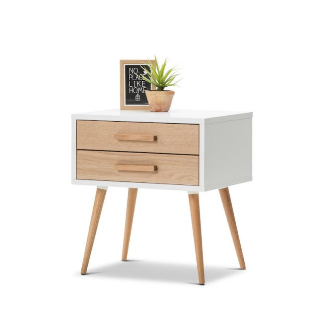 Myst 2 Drawer Bedside Table | White & Oak