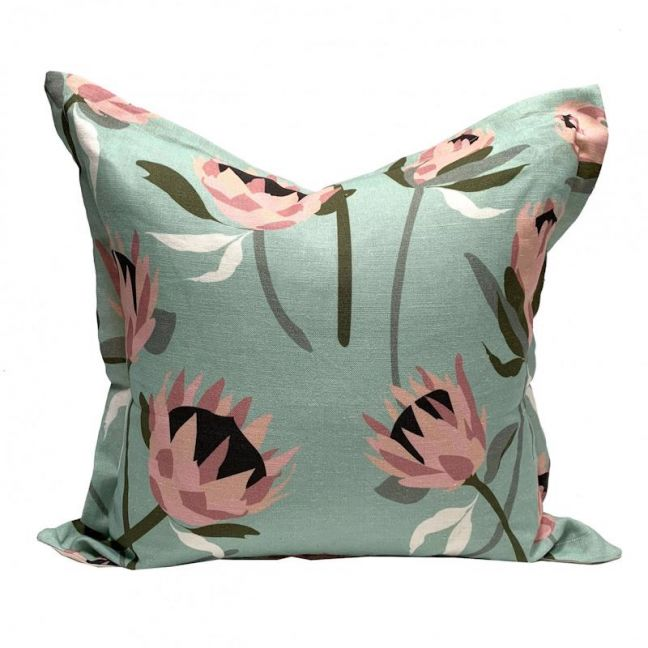 Native Protea Mint Linen Cushion | By Tim Neve
