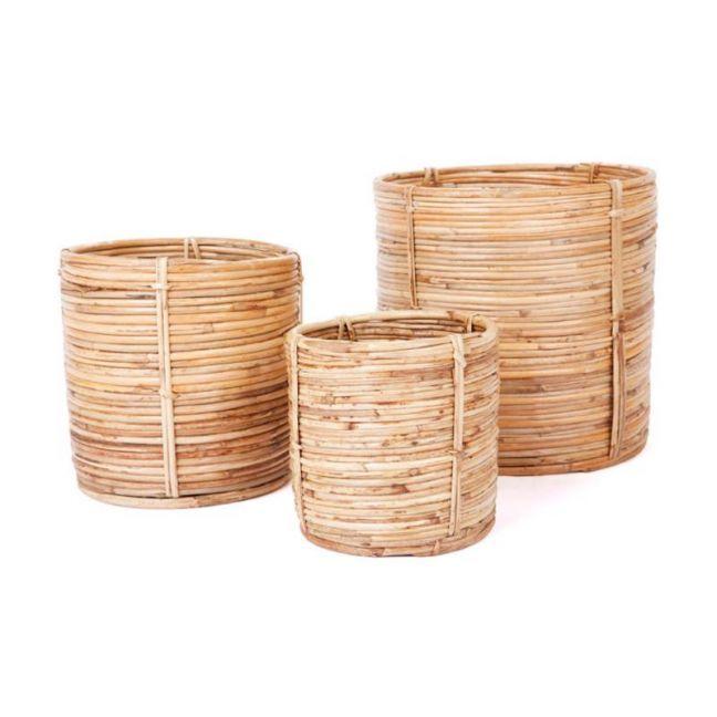 Natural Cane Decorative Planters Baskets   Set of 3   Ubud   Indoor Use Only