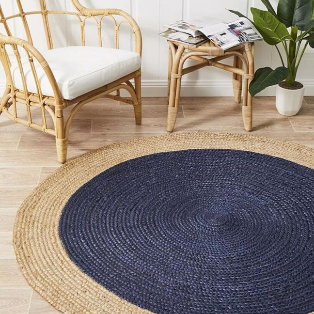 Natural Flatwoven Navy Jute Circle | Back In Stock!
