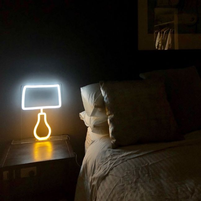 Neon Side Table Lamp   White and Yellow