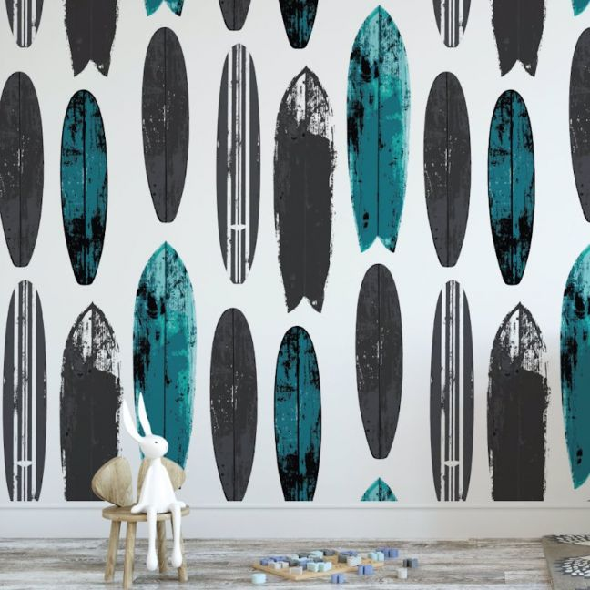 Never Be Board - Nature's Child | Eco Wallpaper | Teal | Amba Florette