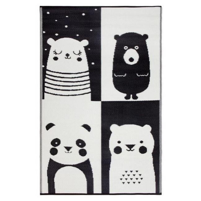 Nika Bear   Black & White   Indoor Outdoor Kids Rug   Various Sizes