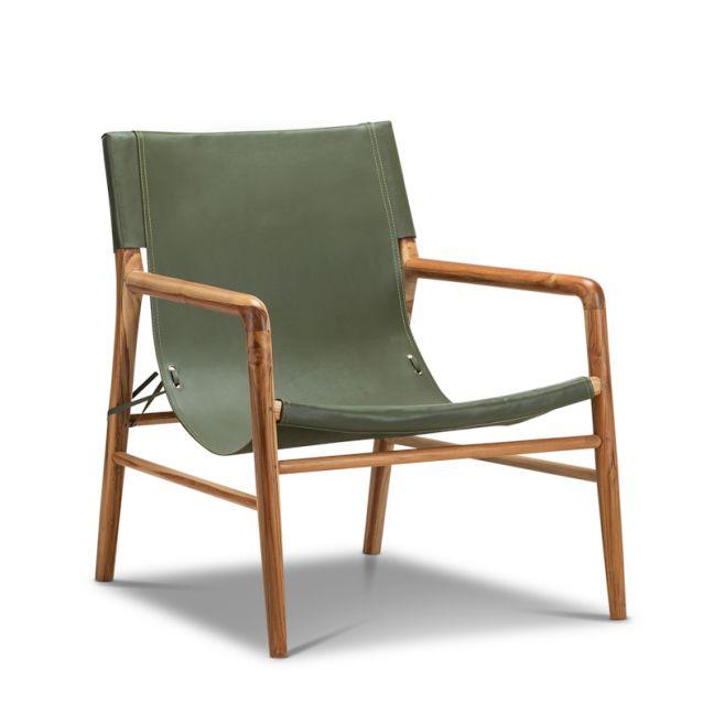 Norah Leather Sling Armchair   Teak & Olive Green