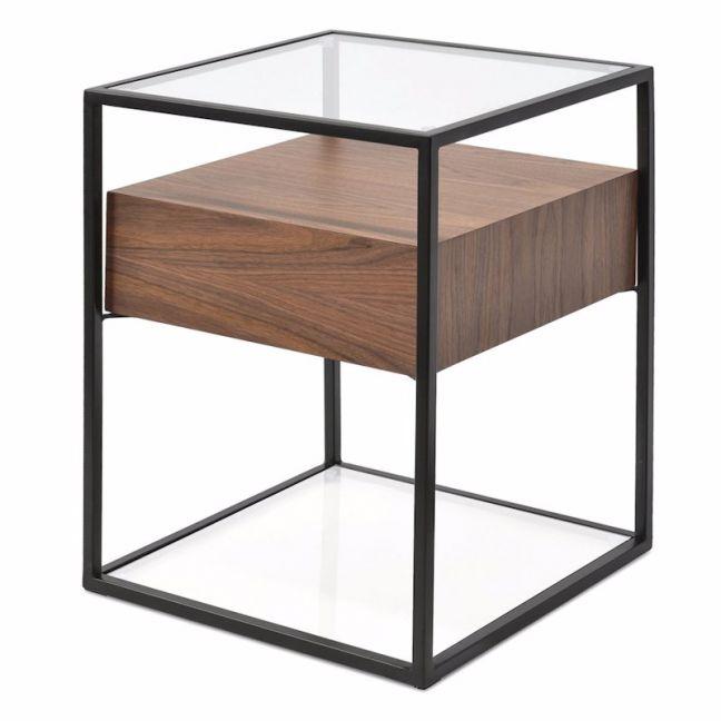 Norman Scandinavian Metal Frame Side Table - Walnut