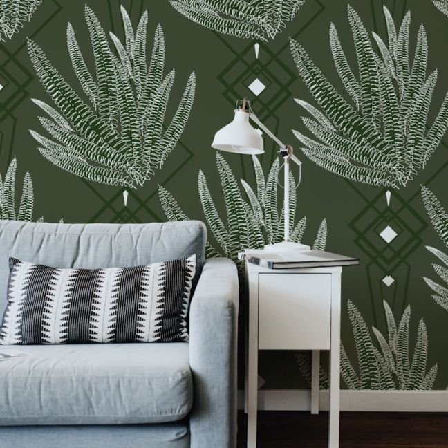 Octavia - Nature's Glamour   Eco Wallpaper   Octavia Olive   Amba Florette