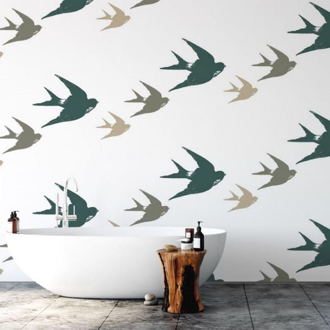 Oh Them 3 Birds! | Days Of Old | Eco Wallpaper | Amba Florette