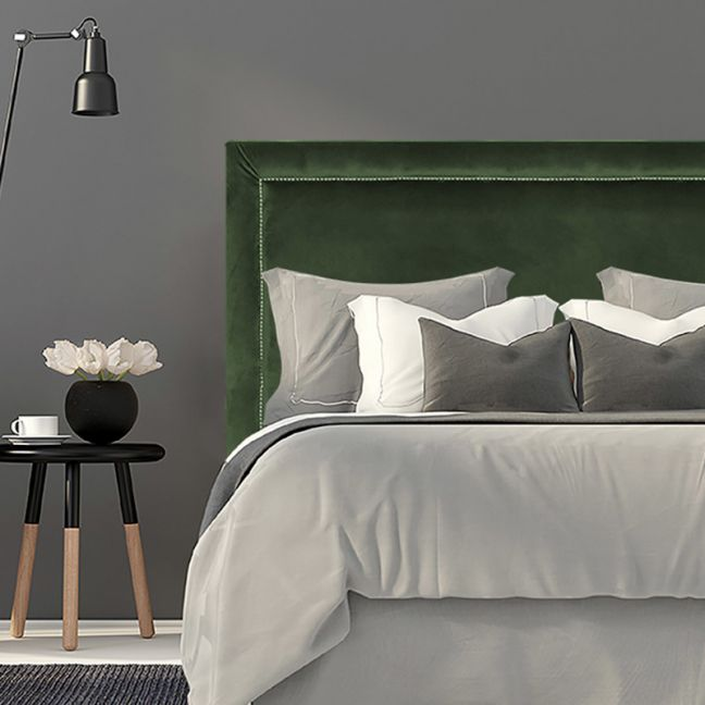 Olive Green Velvet Studded Upholstered Bedhead   All Sizes   Custom Made by Martini Furniture
