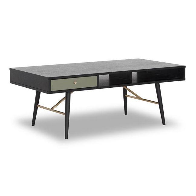 Omari Coffee Table | 117cm | Black & Green Oak