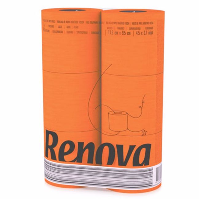 Orange Toilet Paper | 3 Ply | 6 Roll Pack