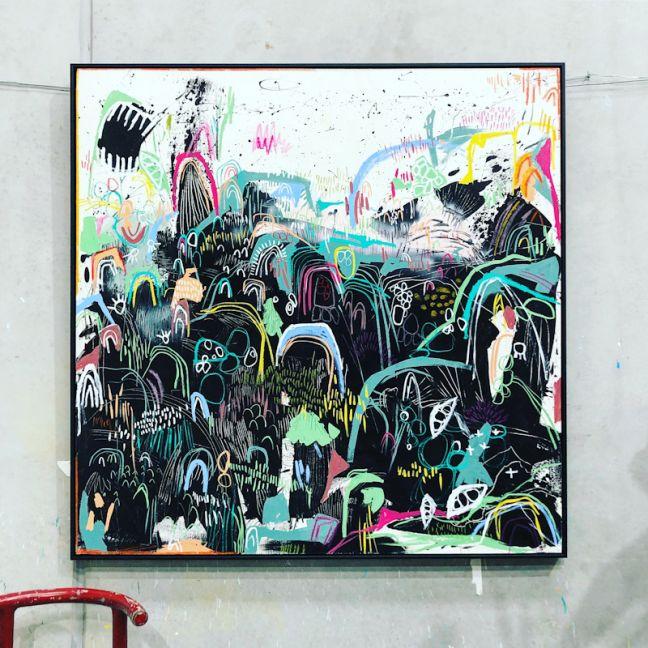 Original Artwork | Saturday Night Lights | 155cm x 155cm | Framed in Black Oak