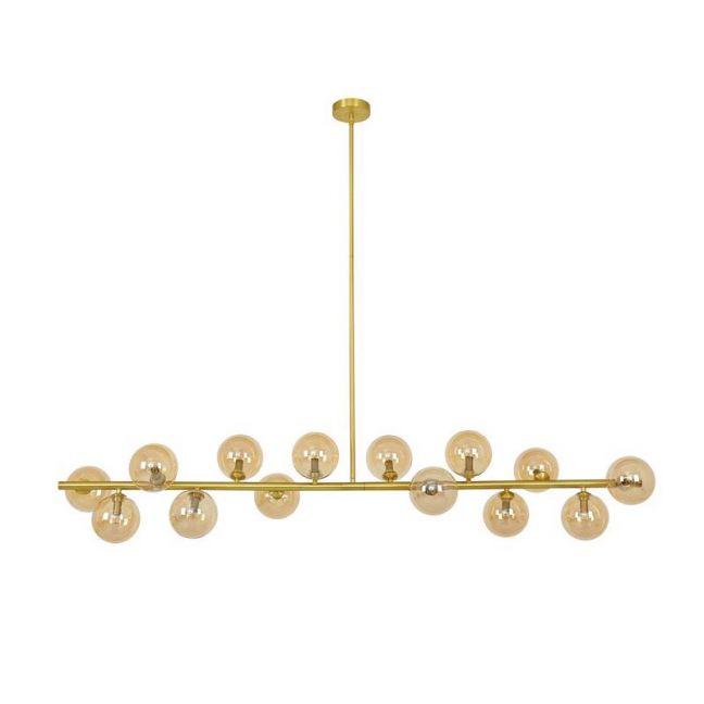 Orion 14 Light Pendant in Brass/Amber | By Beacon Lighting