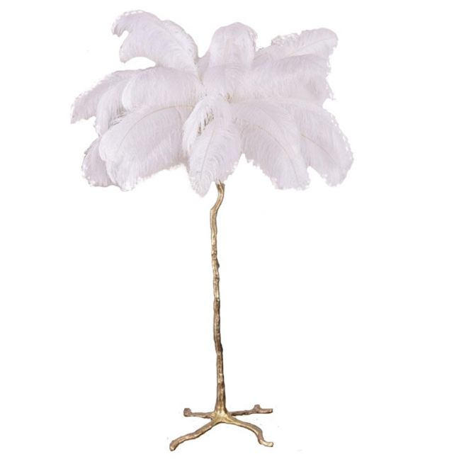 Ostro Genuine Ostrich Feather Brass Floor Lamp | Custom Colours